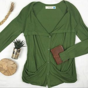 Anthropologie Cotton Cashmere Draped Cardigan